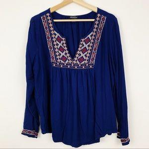 Lucky Brand   Embroidered Split Neck Boho Top XL